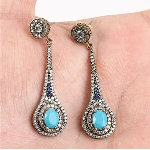 Sultan Ottoman Turquoise Silver Earrings